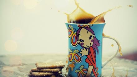 Coffee cups biscuits wallpaper