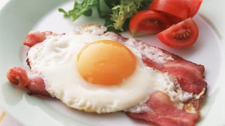 Eggs food bacon breakfast tomatoes wallpaper