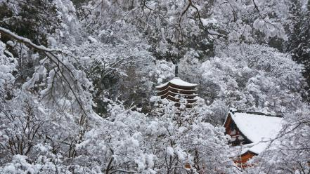 Japan landscapes snow trees asia temple wallpaper
