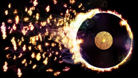 Music fire vinyl notes disk wallpaper