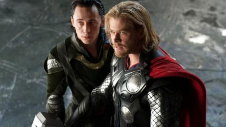 Thor armor loki chris hemsworth tom hiddleston (movie) wallpaper