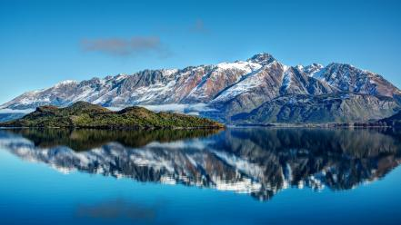 Water blue mountains snow lakes reflections skies wallpaper