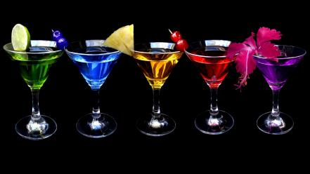 Dark multicolor fruits spectrum martini drinks black background wallpaper