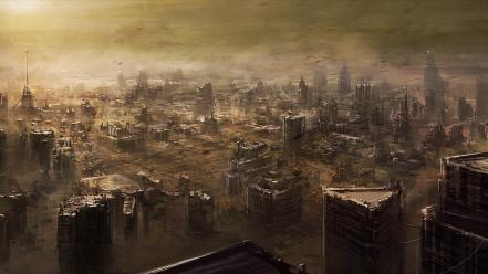 Fantasy art digital science fiction artwork cities wallpaper