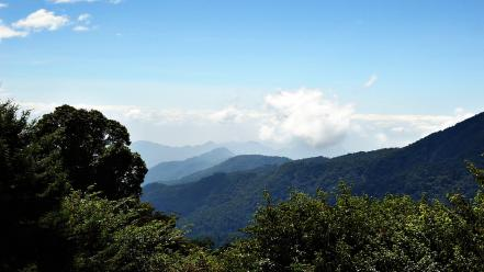 Mountains clouds landscapes nature trees taiwan skies wallpaper