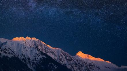 Mountains winter snow stars night sky wallpaper