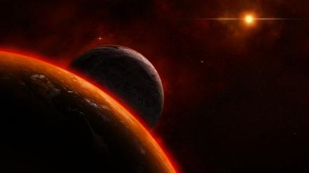 Outer space stars planets dust wallpaper