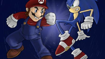 Sega entertainment mario fight luigi versus sonic Wallpaper