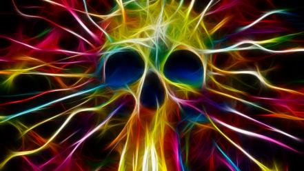 Skulls multicolor fractalius artwork matei apostolescu Wallpaper