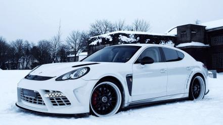 Snow porsche panamera turbo wallpaper