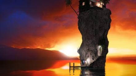 Sunrise ocean trees rock houses wallpaper