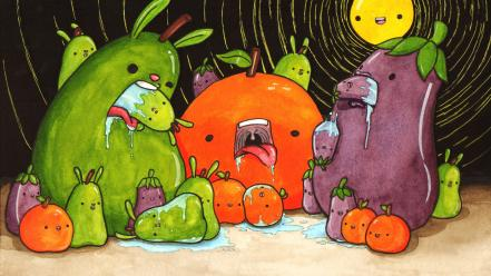 Trippy pears bunny ears vore eggplants cannibalism Wallpaper