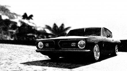 Black and white cars plymouth forza 3 barracuda wallpaper