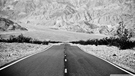 Black and white nature roads wallpaper