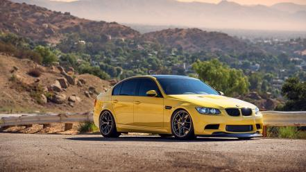 Cars roads tuning yellow bmw m3 e92 Wallpaper