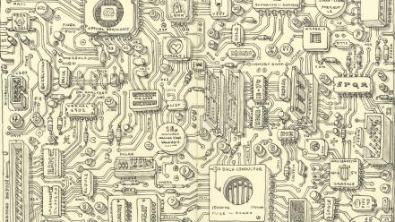 Circuits monochrome artwork drawings traditional art electronic Wallpaper