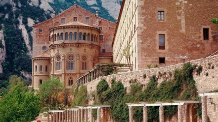 Landscapes nature spain monastery wallpaper