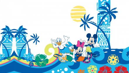 Mouse donald duck palm trees minnie daisy Wallpaper