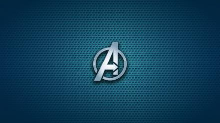 The avengers emblems logos blue background symbols wallpaper