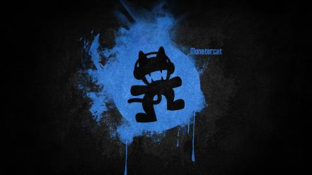 Blue black music logos simple monstercat electronic Wallpaper