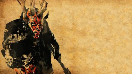 Horns sith red eyes artwork simple background wallpaper