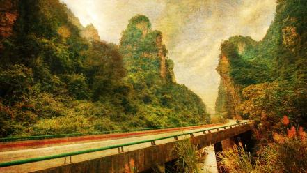 Nature bridges highway mystery wallpaper