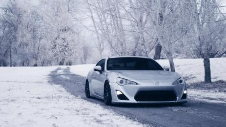 Snow trees cars toyota wallpaper