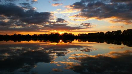 Water sunset clouds trees lakes skies wallpaper
