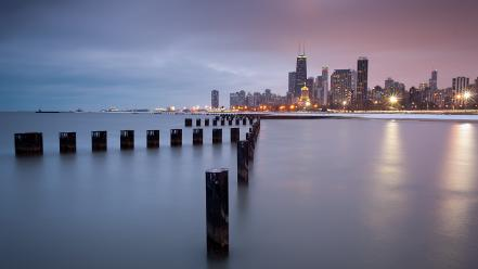 Chicago lights usa calm hdr photography sea wallpaper