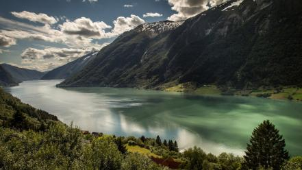 Clouds landscapes nature norway european rivers fjord Wallpaper