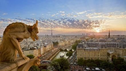 Eiffel tower paris cityscapes bing gargoyles wallpaper