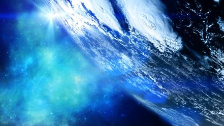 Outer space earth welcome home wallpaper