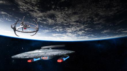 Planets earth spaceships station science fiction sci-fi wallpaper