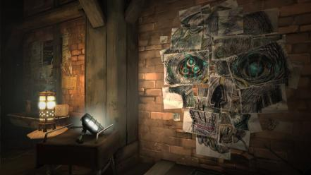 Games lights indoors wall bricks dishonored game wallpaper