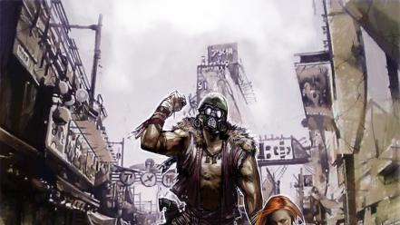 Post-apocalyptic men gas masks fantasy art artwork wallpaper