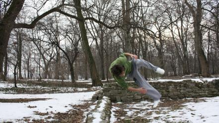 Snow parkour freerunning flip wallpaper