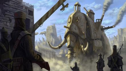 Steampunk fantasy art artwork elephants Wallpaper