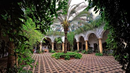 Trees leaves garden spain courtyard palm arches wallpaper