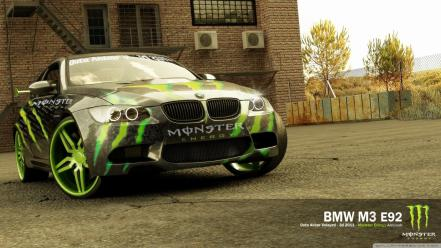 Bmw m3 monster energy 3d e92 wallpaper