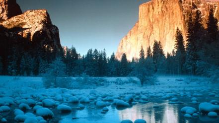 Mountains landscapes nature winter rocks rivers wallpaper