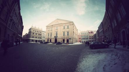 Winter europe poland lublin old city wallpaper