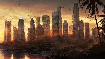 Cityscapes post-apocalyptic fantasy art wallpaper