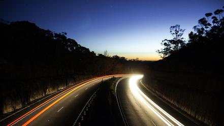 Evening landscapes lights nature roads Wallpaper