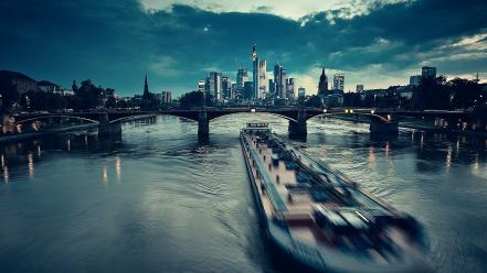 Frankfurt germany barge bridges rivers wallpaper