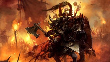 Knights warhammer chaos fantasy art warriors wallpaper