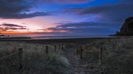 Landscapes dawn fences paths rocks sea Wallpaper