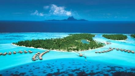 Landscapes nature islands french polynesia resort wallpaper