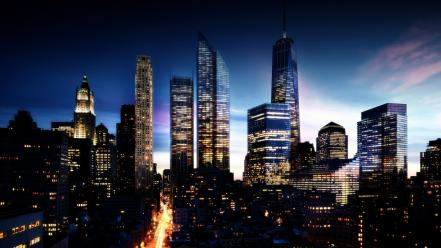 Manhattan night skyline wallpaper