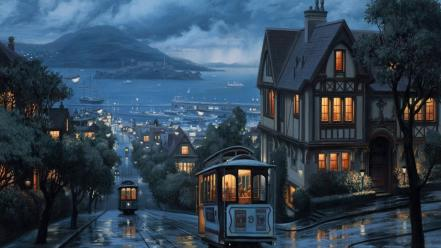 Paintings blue rain san francisco cable car alcatraz wallpaper