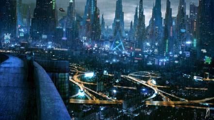 Artwork cities cyberpunk futuristic neon wallpaper